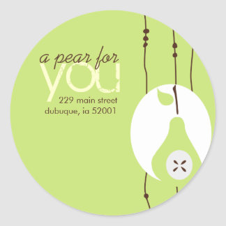 Pear For You Address Label Round Sticker