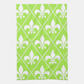 Pear Green Fleur de Lis Hand Towel