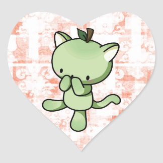 Pear Kitty Heart Sticker