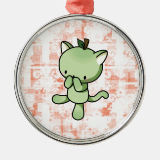 Pear Kitty Metal Ornament