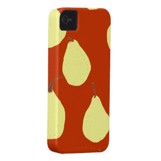 pear pattern red and cream yellow iPhone 4 cover