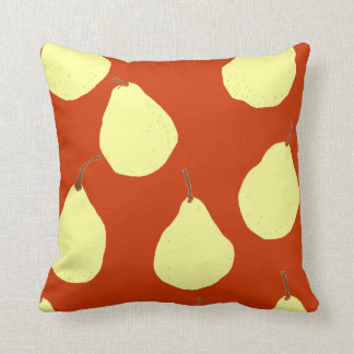 pear pattern red and cream yellow pillow