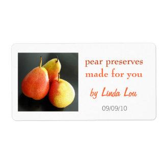 Pear Preserves or jam label