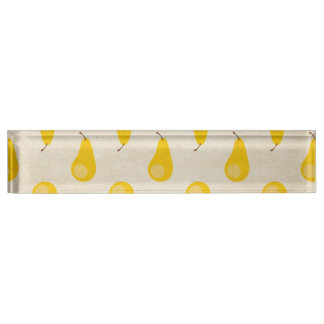 Pear Print Yellow Fruit Pears Classic Preppy Name Plate