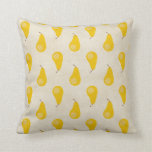 Pear Print Yellow Fruit Pears Classic Preppy Throw Pillows