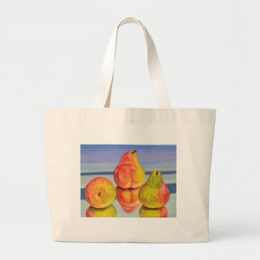 Beach Themed Pear Reflection Large Tote Bag