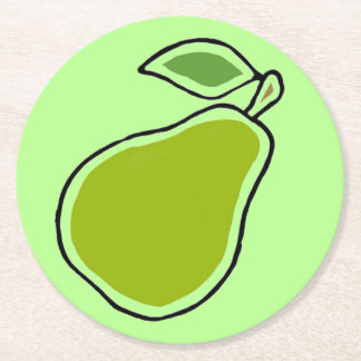 Pear Round Paper Coaster
