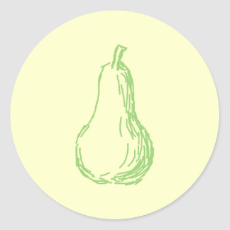 Pear Sketch. Line illustration in green. Classic Round Sticker
