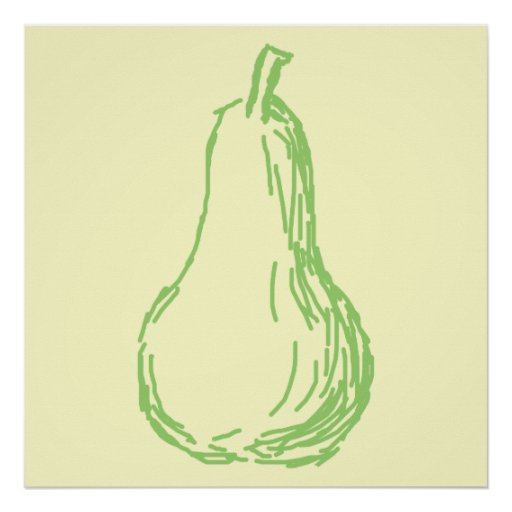 Pear Sketch. Line illustration in green. Posters