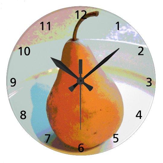 Pear Still Life Large Clock