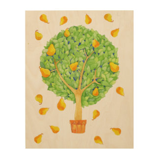 "Pear Tree 11""x14"" Wood Canvas"