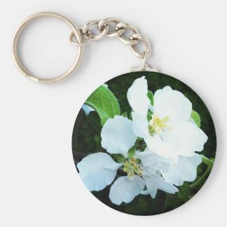 Pear tree flower basic round button keychain