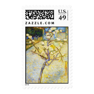 Pear Tree in Blossom Vincent van Gogh fine art Postage Stamp