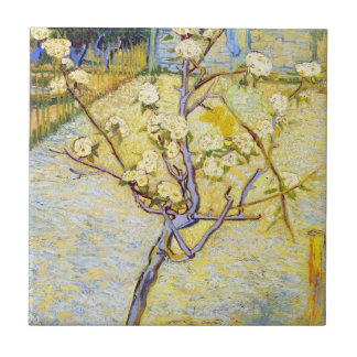 Pear Tree in Blossom Vincent van Gogh fine art Tiles
