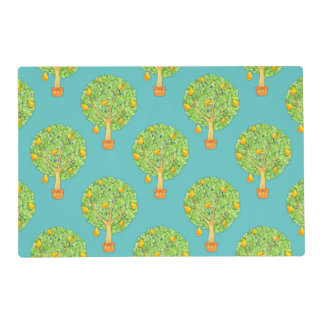 Pear Tree Pattern teal Gloss Placemats