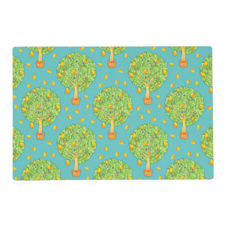 Pear Tree Pears Pattern teal Gloss Placemats