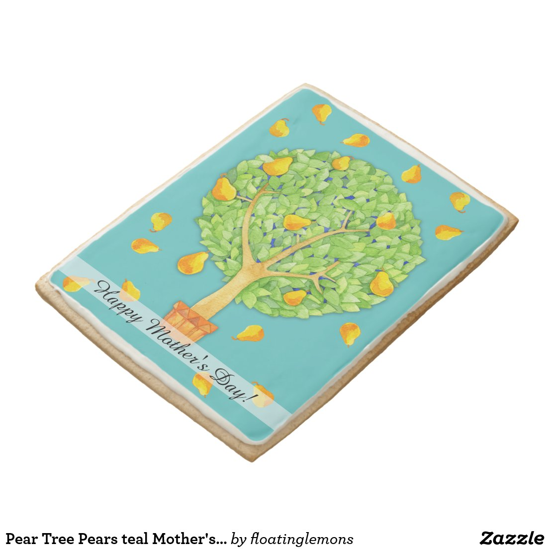 Pear Tree Pears teal Mother's Day Jumbo Cookie