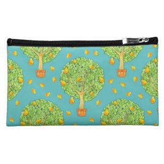 Pear Tree Pears teal Sueded Medium Cosmetic Bag