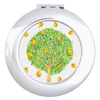 Pear Tree Round Compact Mirror
