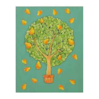 "Pear Tree teal 11""x14"" Wood Canvas"