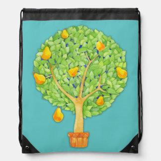 Pear Tree teal Drawstring Backpack