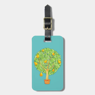 Pear Tree teal Luggage Tag w/ leather strap