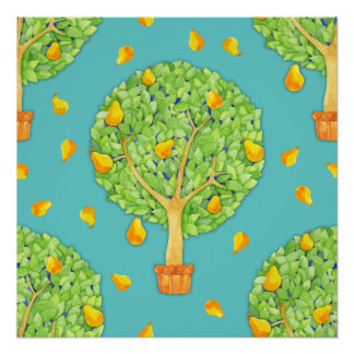 Pear Tree teal Perfect Poster