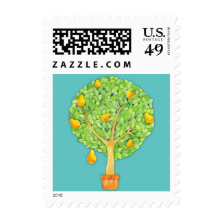 Pear Tree teal Postage Stamp - Small