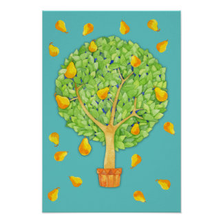 Pear Tree teal Poster