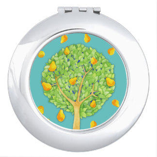Pear Tree teal Round Compact Mirror