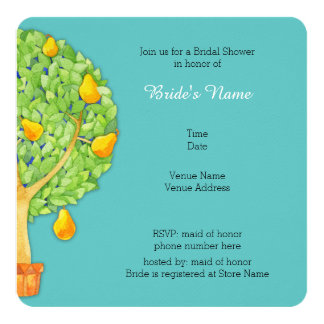 Pear Tree teal Square Bridal Shower Invitation