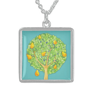 Pear Tree teal Sterling Silver Square Necklace