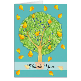 Pear Tree teal Thank You 2 Card