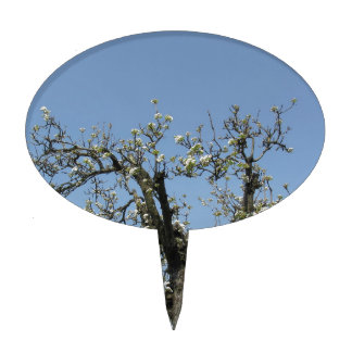 Pear tree with blossoms against the blue sky cake topper