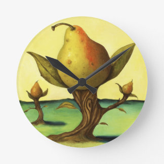 Pear Trees Round Clock