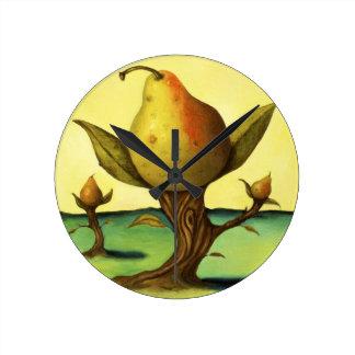 Pear Trees Round Clock