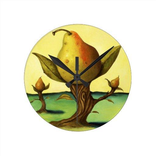 Pear Trees Round Wall Clock