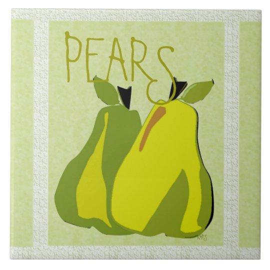PEARfect Pear (texture/mint) Ceramic Tile