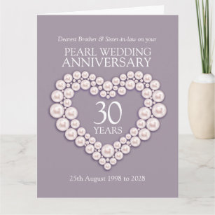 Pearl 30th Anniversary Brother Sister In Law Card