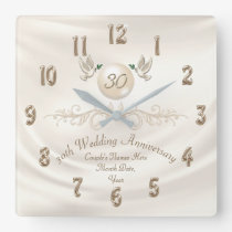 Pearl 30th Wedding Anniversary Gifts, Your Text Square Wall Clock
