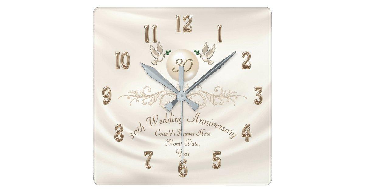Pearl Wedding Anniversary Gift Ideas: Pearl 30th Wedding Anniversary Gifts, Your Text Square