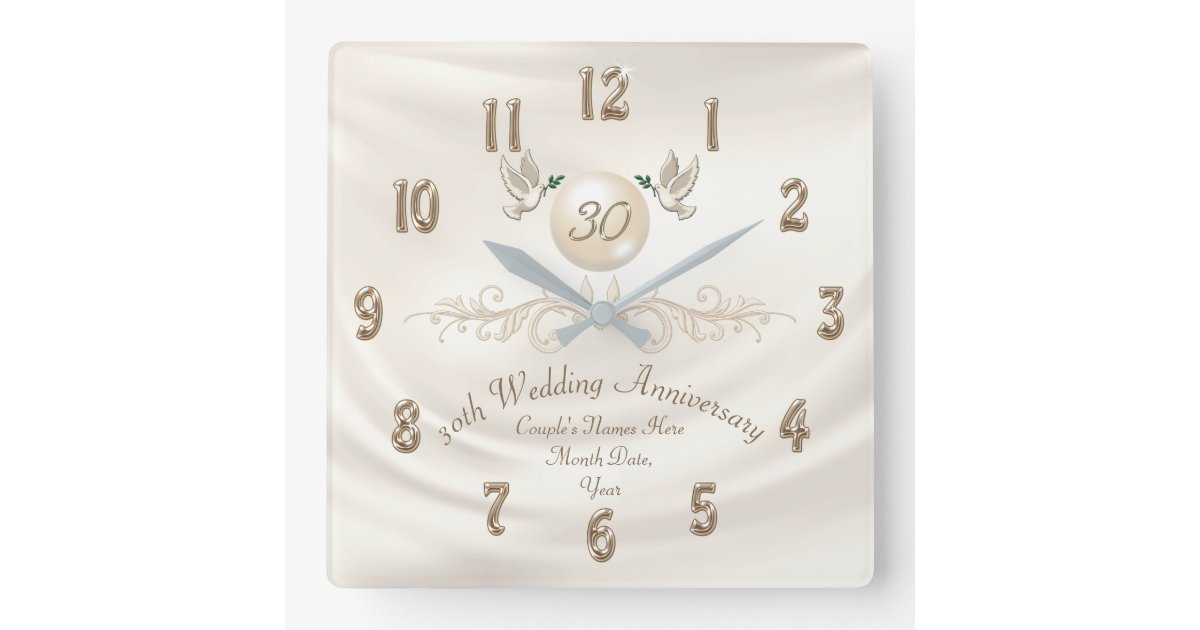 What Is 30th Wedding Anniversary Gift: Pearl 30th Wedding Anniversary Gifts, Your Text Square