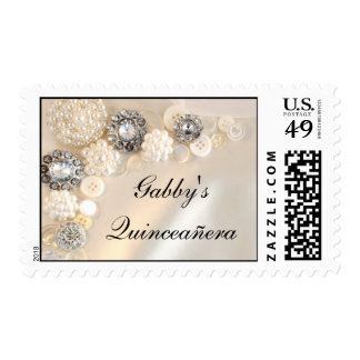 Pearl and Diamond Button Quinceañera Postage Stamp