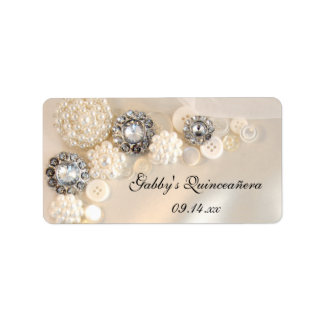 Pearl and Diamond Buttons Quinceañera Favor Tags