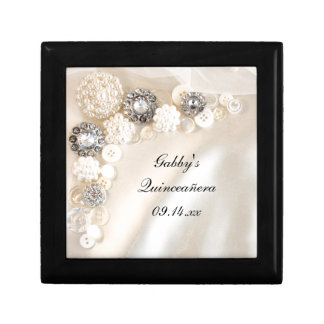 Pearl and Diamond Buttons Quinceañera Gift Box