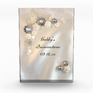 Pearl and Diamond Buttons Quinceañera Keepsake Award