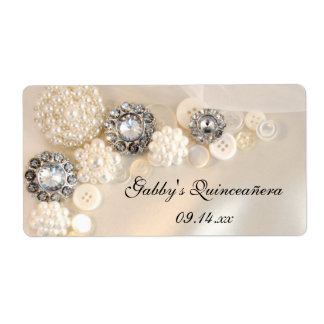 Pearl and Diamond Buttons Quinceañera Labels