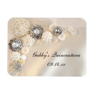 Pearl and Diamond Buttons Quinceañera Magnet