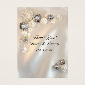 Pearl and Diamond Buttons Wedding Favor Tags