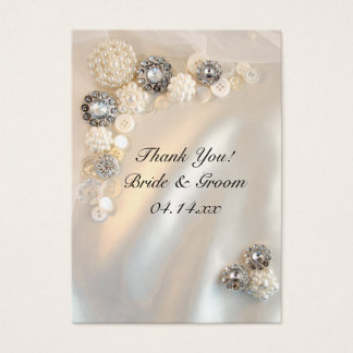 Pearl and Diamond Buttons Wedding Favor Tags Business Card